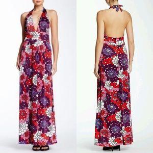 EVA FRANCO TILLY HALTER FLORAL MAXI DRESS